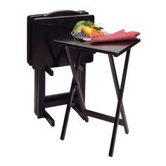 Alex 5-PC Snack Table Set Black  sc 1 st  Pinterest & image of Hamilton 5-Piece Snack Tray Table Set | Wedding/House ...