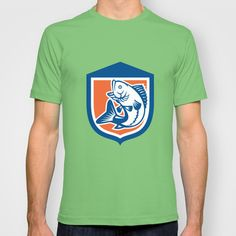 Largemouth Bass Jumping Side View Shield Retro T-shirt