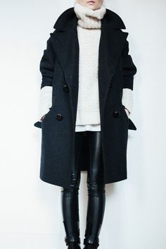 Winter Warmth with leather leggings and long wool coat and sweater. Minimal + Classic: F I G T N Y Outfit • 03