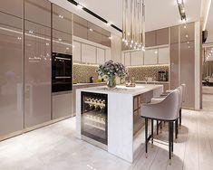 Modern Kitchen Interiors, Luxury Kitchen Design, Kitchen Room Design, Kitchen Cabinet Design, Luxury Kitchens, Home Decor Kitchen, Interior Design Kitchen, Open Plan Kitchen Living Room, Cuisines Design