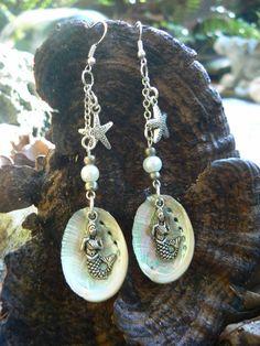 abalone mermaid earrings dangle earrings statement earrings paua resort wear siren beach summer trending in cruise wear boho gypsy style by gildedingypsy on Etsy Seashell Jewelry, Crystal Jewelry, Boho Jewelry, Jewelery, Jewelry Design, Seashell Necklace, Designer Jewelry, Boho Earrings, Fashion Earrings