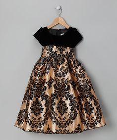 Take a look at this Black & Gold Damask Velvet Dress - Infant, Toddler & Girls by Kid Fashion on #zulily today!