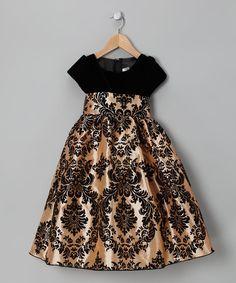 Kid Fashion Black & Gold Damask Velvet Dress - Kids