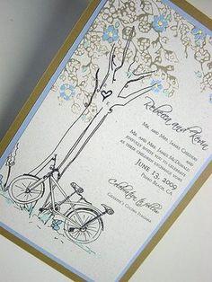 Tandem bike and tree invitations Personalised Wedding Invitations, Wedding Stationary, Bridal Shower Invitations, Personalized Wedding, Custom Invitations, Invites, Wedding Art, Wedding Themes, Our Wedding