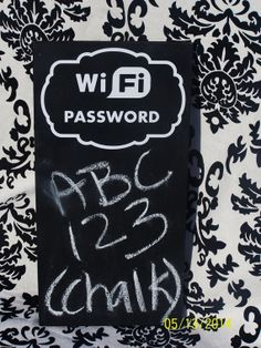 Chalkboard Sign WiFi Password wood sign by WordArtTreasures, $10.00 Would be great in the guest room