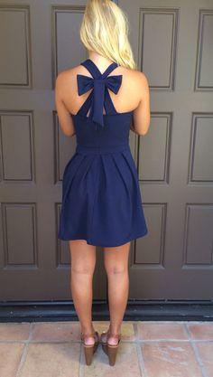 Cross Bow Dress - NAVY