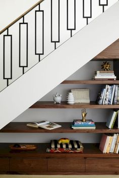 10 Under Stair Storage Ideas that Make Your House Look Stunning 30 Under Stair Shelves and Storage Space Ideas We'll shows you ways to use the space under your stairs as a place for storage. Stair Shelves, Staircase Storage, Staircase Railings, Staircase Design, Shelves Under Stairs, Storage Shelves, Diy Storage, Under Stair Storage, Book Storage
