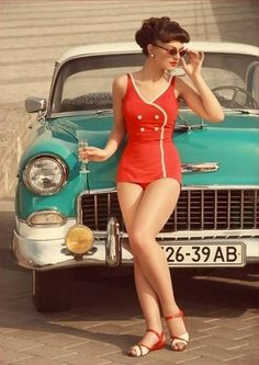 Model and classic car, ca. 1950s.