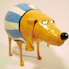 Opa! objetos de papel maché y cartapesta: Perro argento