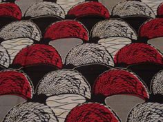 "Black and Red Crescent ""Alexi"" Pattern African Wax Fabric from Galeria dos Sonhos"