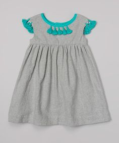 Another great find on #zulily! Gray & Teal Babydoll Linen-Blend Dress - Infant, Toddler & Girls by Cream Coral #zulilyfinds