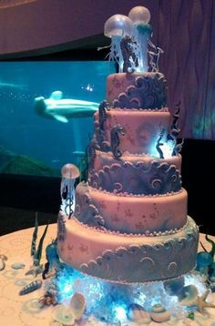 Sea Themed Wedding Cake Topper 5 tier and sealife theme wedding cake with jellyfish Pretty Cakes, Cute Cakes, Beautiful Cakes, Amazing Cakes, Cake Icing, Eat Cake, Cupcake Cakes, Ocean Cakes, Beach Cakes