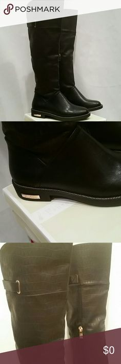 BLACK TEXTURED to the knee Black boots w/Detail New, purchased this yesr, Reneeze's Shoes Heeled Boots