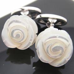 Rose mother of pearl cufflinks [JanLeslie]