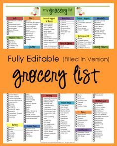 Editable Grocery List (Filled In Version)