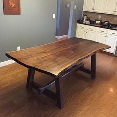 Walnut live edge table finished and installed. I'm very happy with how it turned out! #liveedge #walnut #diningtable