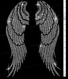 Black Outline Angel Wings Rhinestone Transfer Crystal Bling Iron-On Applique Rhinestone Tshirts, Rhinestone Crafts, Bling Shirts, Rhinestone Transfers, Crystal Rhinestone, Wings Wallpaper, Angel Wings Jewelry, Wing Tattoo Designs, Diamond Art