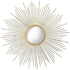 Bring a bright ray of sunshine to any room with this sunburst mirror. Made from metal, it features an abundance of rays surrounding a gold-finish round. Sun Mirror, Metal Mirror, Starburst Mirror, Gold Home Decor, Mid Century Modern Decor, Angkor, E Design, Interior Design, Interior Office