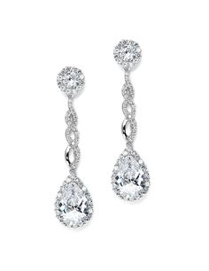 Drop CZ Wedding Earrings