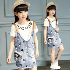 >> Click to Buy << Girls set children summer 2017 new Korean fashion children's clothing Girls short sleeve T - shirt denim strap dress two sets #Affiliate