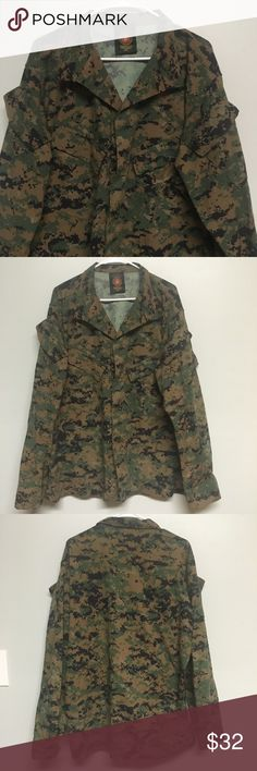 Trendy Camo Military Utility Jacket This Camouflage Camo Jacket is edgy and ON TREND!! It's oversized and perfect to wear with a tee, jeans, and a pair of boots. Sleeves can be rolled or in rolled. Button up, pockets on front and arms with emblem on left side (as pictured). Perfect condition. MAKE AN OFFER!! American Apparel Jackets & Coats Utility Jackets
