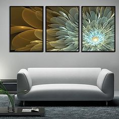 Abstract Flowers Framed Canvas Print Set of 3 2016 - $81.99