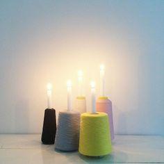 Time to light the candles!  #DIY #yarnspool #candlelight #lights #christmas