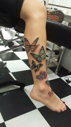 100 Fabulous Butterfly Tattoo Designs That Will Make You Crazy Best Leg Tattoos, Leg Tattoos Women, Dad Tattoos, Body Art Tattoos, Tribal Tattoos, Tatoos, Skull Tattoos, Realistic Butterfly Tattoo, Elephant Tattoos