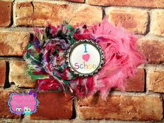 Pink Back To School Shabby Hair Bow I Love by EmmaleighsBowtique