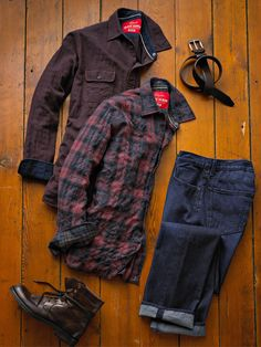 Stay warm with a herringbone plaid casual shirt, complimented with your favorite jeans.