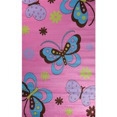 Glam Collection- Fun Pattern Design Area Rug for Children's Rooms PINK 5'X7' Butterflies Heritage Home http://www.amazon.com/dp/B00K9SOCZ2/ref=cm_sw_r_pi_dp_xa3kub144G9MD