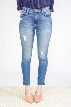 Mother Jeans The Vamp Fray in Natural Born Trouble Mother Denim, The Vamps, Thighs, Skinny Jeans, Slim, Cotton, Pants, Fashion, Trouser Pants