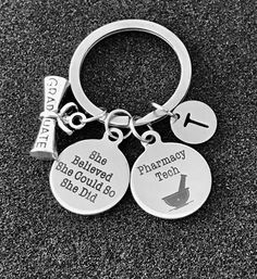 Pharmacy Tech keychain Graduation gift for Pharmacy image 0 Pharmacy, Personalized Items, Data Conversion, Bangle Bracelet, Silver, Presents, Apothecary