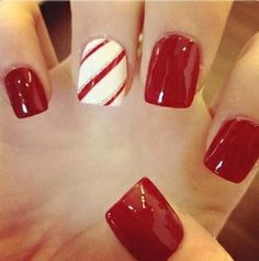 Holiday nails candy cane idea
