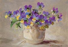Violas - Blank Card | Mill House Fine Art – Publishers of Anne Cotterill Flower Art