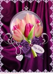 Satin And Tulips Luxury Female Birthday A4 Card