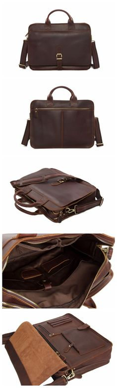 Men's Handmade Leather Briefcase Messenger Laptop Bag Men's Handbag For Christmas Gift