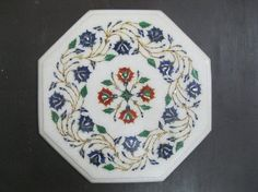 Marble Inlay Table Top Pietra Dura Semi Precious Gemstone Inlay Floral  Design Dinning Table Tea Coffee