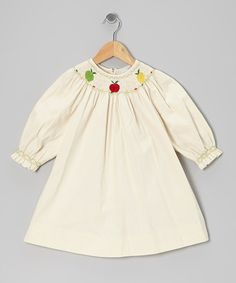 Take a look at this Ivory Apple Corduroy Bishop Dress - Infant, Toddler & Girls by Fantaisie Kids on #zulily today!