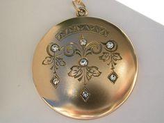 """Extra Large Art Nouveau Swirl Diamond Shape Chandelier Drops Antique Victorian Gold F Brilliant 1.5"""" Locket Pendant 14K GF Chain Necklace"""
