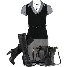 Monochrome Black and Grey, created by stylesbyjoey on Polyvore
