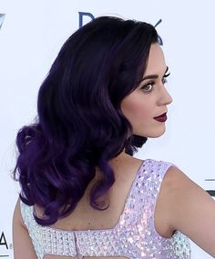 Katy Perry purple hair back