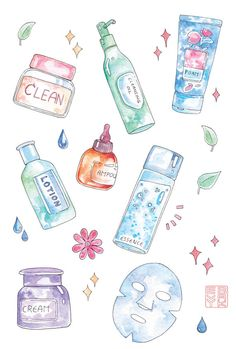 Korean Skincare Routine Sticker Sheet - K-Beauty Watercolor Illustrations, Spa, . - Korean Skincare Routine Sticker Sheet – K-Beauty Watercolor Illustrations, Spa, Korean Beauty Pro -