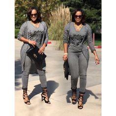 Street style Grey Tee, grey skinny jeans, grey cardigan