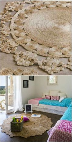 Rustic Rope - 30 Magnificent DIY Rugs to Brighten up Your Home Rope—sisal, jute or twine—is a fantastic medium for rugs. All you really have to do is roll it up into differing sized circles, then hot glue or sew them all together for a rustic and fun unique rug. It's really easy to do and you can really let your creativity flow with this idea