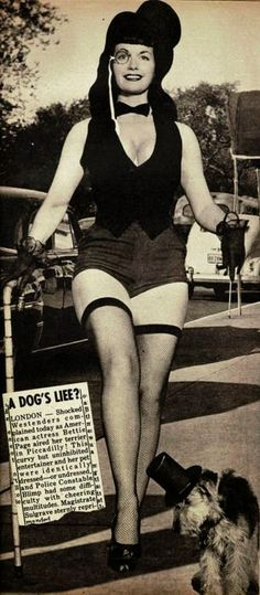 Vintage Doggy: Betty Page and Dog