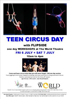 Come and learn circus tricks that you will never forget! From juggling to mini tramp, trapeze to tumbling, and many more skills on the gro. World Theatre, Upcoming Events, Towers, Comebacks, Have Fun, Workshop, Teen, Learning, Day