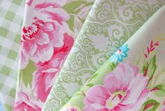 Shabby Chic Green and Pink Floral Fat Quarter Bundle