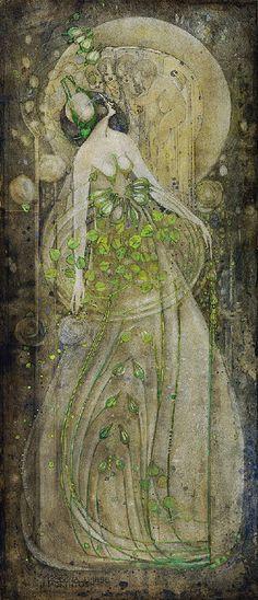 Margaret MacDonald Mackintosh (1864-1933) Junirosen, 1898. Pencil and watercolours on paper.