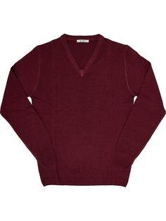 100% extrafine merino wool sweater red for man Exibit